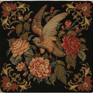 Pillow Needlepoint Black Falcon